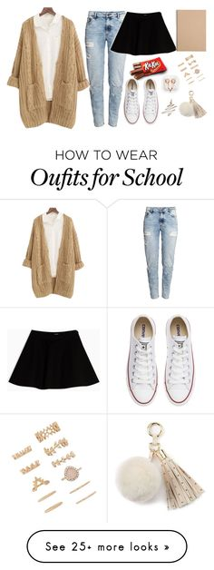 """Back to school"" by mariami-princess2013 on Polyvore featuring Chicnova Fashion, H&M, Converse, Max&Co., Hershey's, Muji, Forever 21, claire's, Juicy Couture and Anastasia Beverly Hills"