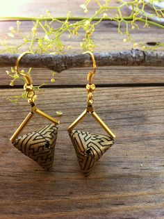Origami Triangle Earrings by all things paper, via Flickr