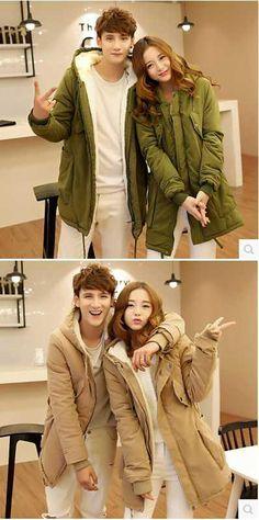 New 2016 Men & Women Hooded Thicken Fleece Lining Parkas Fashion Couples Snow Wear Slim Wadded Winter Coat H6573