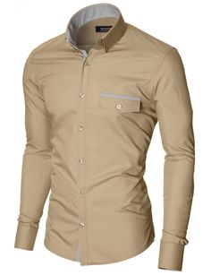 MODERNO Mens Slim Fit Casual Button-Down Shirt (MOD1413LS) Beige. FREE worldwide shipping! 30 days return policy