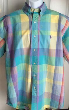 Ralph Lauren Polo Large Pastel Plaid Shirt Blaire Short Sleeve #PoloRalphLauren #ButtonFront