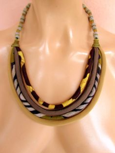 BROWN  African batiksilk BIB necklace recycled glass by nad205, $30.00