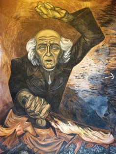 """""""Hidalgo"""". Mural by José Clemente Orozco in Guadalajara, Jalisco. """"Orozco was the most complex of the Mexican muralists"""" http://gotomexico.co.uk/vintage/"""