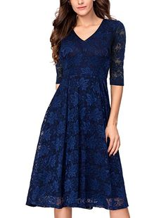 0c04bd32de1 Amazon.com  Noctflos Lace V Neck Fit   Flare Midi Cocktail Dress for Women  Party Wedding  Clothing