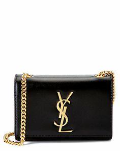 """Saint Laurent """"Cassandre"""" Small Leather Shoulder Bag"""