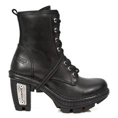 Black Leather Militaryl Ankle Booties