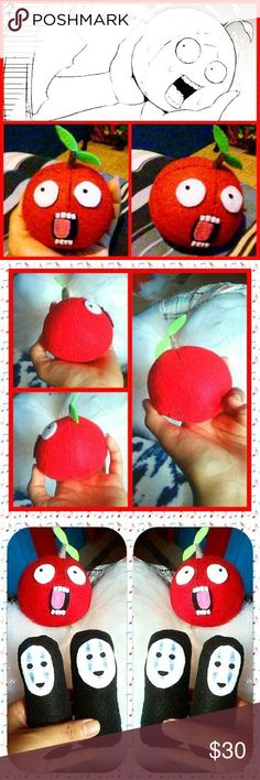 Anime/Manga Apple (Wapple) PochiKuro Cosplay Plush Handmade screaming apple named Wapple from the manga PochiKuro, lol, I love it's facial expressions! 😂 Reminds me a lot of the oranges and stuff that would do facial expressions in the Anime for Zatchbell! 🤣  I am actually really attached to this creation of mine, I'd be willing to do a custom order if you'd like to have one, but this one is mine to keep. 😁 Kakigori Kakigori Accessories