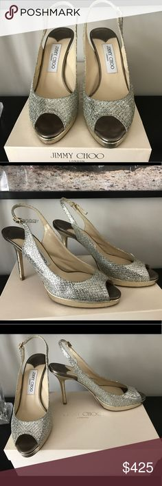 Jimmy Choo Nova Champagne Glitter Pumps A glamorous evening slingback made of Italian leather is covered in glitter and paired with an embossed snakeskin platform. This style is from the 24:7 Collection. This pair has been worn once and is in great condition! Jimmy Choo Shoes Sandals