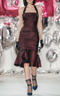 Ruffled Wiggle Dress by LENA HOSCHEK for Preorder on Moda Operandi