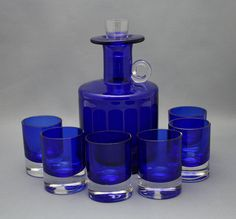 Lasi karahvi, Sirkku Kumela-Lehtonen, Kumela My Glass, Glass Art, What's My Favorite Color, Carafe, Bleu Cobalt, Im Blue, Cobalt Glass, Carnival Glass, Glass Collection