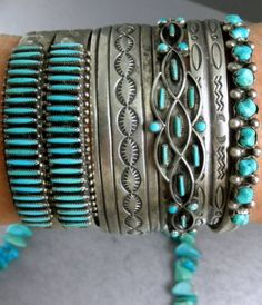 Sterling and Turquoise cuffs and bracelets