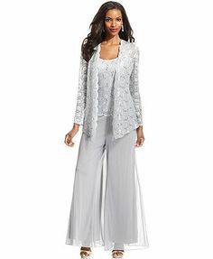 Alex Evenings Lace Jacket Set & Wide-Leg Chiffon Dress Pants