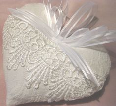 Bride's Lavender Sachet Heart with Ornate Lace by RebeccasHearts, $12.50