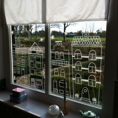 DIY with chalk marker. Nice to decorate the windows for Sinterklaas! Window Markers, Amsterdam Houses, Posca Art, Chalk Markers, Window Art, Chalkboard Art, Kids Christmas, Art For Kids, Christmas Decorations