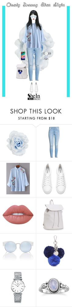 """""""Cloudy Dreamy Blue Style ft SheIn"""" by eboneeyg ❤ liked on Polyvore featuring Collectif, H&M, Aéropostale, Nine West and Longines"""