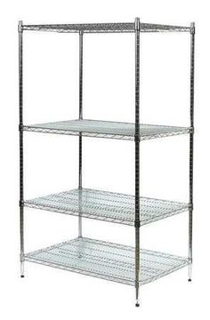 Industrial Wire Shelving and Accessories Chrome Industrial Wire Shelvi by VALUE BRAND. $151.99. Wire Shelving Unit, Starter, Material Steel, Number of Shelves 4, Width 60 In., Depth 24 In., Height 63 In., Shelf Capacity 600 lb., 1 In. Increments, Chrome, Finish Chrome Plated, Standards NSF, Includes 4 Shelves and 4 Posts