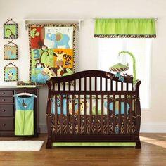 Jungle Monkey Unisex Animal Giraffe 5pc Neutral Zoo Nursery Crib Bedding Set