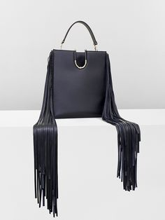 Black calf leather  Barbell Bag with fringes for #MuglerFallWinter
