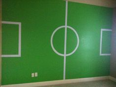 Ah bah voilà sur le mur! Soccer Bedroom, Football Bedroom, Kids Bedroom, Soccer Decor, Interior Design Programs, Bedroom Themes, House Rooms, Boy Room, Living Room Designs
