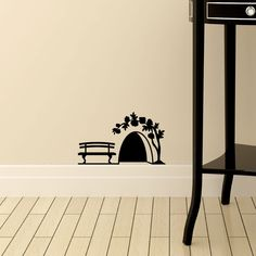 Mouse Hole With Rose Wall Vinyl Decal Home Die Cut Decor Sticker Decoration Simple Wall Paintings, Creative Wall Painting, Wall Painting Decor, Creative Walls, Diy Wall Art, Wall Art Designs, Wall Design, Mouse Hole, Doodle Wall