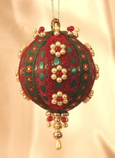 Beaded Victorian Ornaments | Handmade Old World Victorian Heirloom Beaded Christmas Ornaments