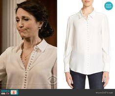Nadine's white buttoned blouse on Madam Secretary. Outfit Details: https://wornontv.net/67449/ #MadamSecretary