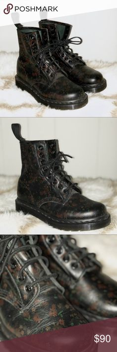 """Dr. Martens """"Original"""" Boots These Original Dr. Marten boots feature a faint floral print on smooth black leather. Very good condition, only worn once, I didn't have the patience for the breaking in process! The soles are like new and the leather just has very minor creasing at the toes. The heel loop on the right boot doesn't look like it was put on properly and feels a little fragile. Would look great with your favorite sweater dress and tights! Reasonable offers welcome! Bundle two or…"""