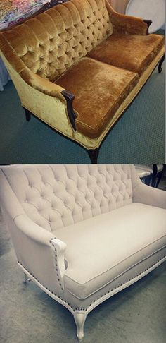 Surrey Upholstery chose our Breton #13 Linen to reupholster this vintage sofa. http://www.maxwellfabrics.com/p/BK3013