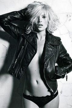 Leather jacket black panties : fainted heart