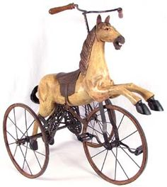 Antique Toy Horse Velocipede Tricycle Replica (?) I absolutely love this. P