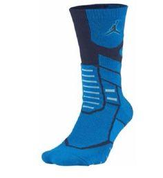 f59afdef0013 Nike Air Jordan Boys Crew Socks Shoe Size 3Y-5Y Jumpman Flight Blue  Athletic
