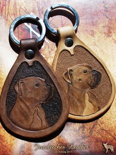Made this leather keychain with the portret of my boxer Mr. Roger! Made of natural tanned leather and handtooled by Jeweleeches Vivian Hebing! Do you want to see more of my work, you can find me on Facebook, Youtube or Etsy too! On Youtube you can see my tutorial video's!