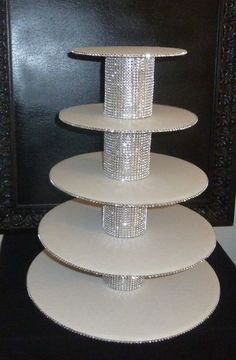 Artículos similares a 5 tier bling faux rhinestone white cupcake stand tower wedding cake pop display holder candy buffet dessert bar table disassembled DIY en Etsy Candy Table, Candy Buffet, Dessert Table, Cake And Cupcake Stand, Cupcake Cakes, Cake Stands, Diy Cake Pop Stand, Cupcake Tier, Cupcake Display