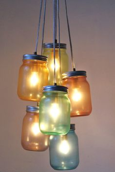 Over The Rainbow Mason Jar Chandelier  Modern by BootsNGus on Etsy, $140.00