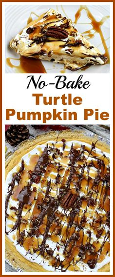 Make creating a delicious dessert less stressful with this easy no-bake turtle pumpkin pie! It's quick to put together, but tastes delicious! | dessert recipe, no-bake recipe, easy recipe