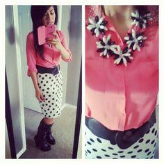 Polka dot skirt, pink blouse. Modest fashion