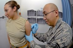 US Air Force personnel receive their smallpox vaccinations