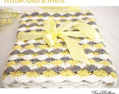 Items similar to Crochet Baby Blanket - Gift Set - Buttercup Yellow - Boy or Girl on Etsy