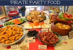jake and the never land pirates birthday party food.The Best Birthday Party Menu Pirate Birthday, 3rd Birthday Parties, Birthday Ideas, 4th Birthday, Mickey Birthday, Birthday Gifts, Pirate Food, Pirate Themed Food, Comida Diy