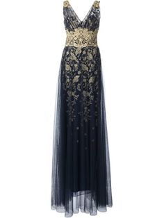 Marchesa Notte Lace Detail Gown - Farfetch