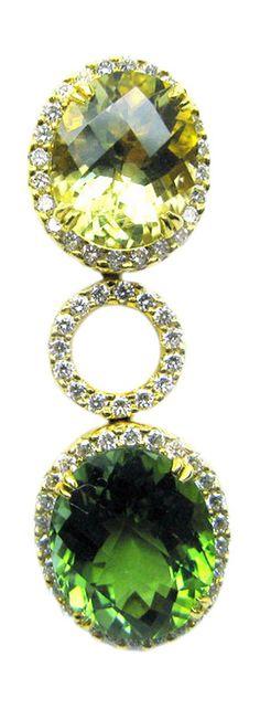 Lemon Quarz, Green Tourmaline and Diamond Earrings