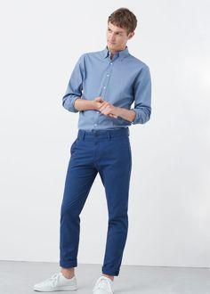 Camisa slim-fit pied-de-poule | MANGO MAN