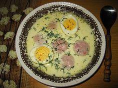 Moje domowe kucharzenie: Zupa chrzanowa z białą kiełbasą i jajkiem