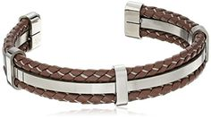 Men's Stainless Steel and Brown Leather Cuff Bracelet     #PresidentsDay #ForHim #ForHer #Holidays #GiftIdeas #Gifts #Affiliate