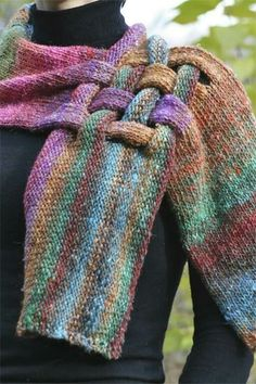 Unique Silk and Kid Mohair Neck Piece Scarf in Green, Pink, Blue, Purple and Orange Noro Yarn Cool idea! Yarn Projects, Knitting Projects, Crochet Projects, Loom Knitting, Knitting Patterns, Crochet Patterns, Knit Or Crochet, Crochet Scarves, Neck Piece
