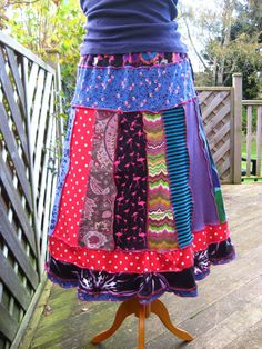 Ragdoll patchwork upcycled / recycled tee shirt skirt by niknok, £45.00