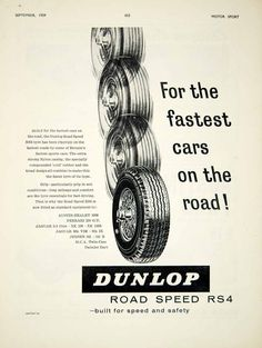 1959 Ad Dunlop Road Speed RS4 Car Tyres Tires Automobile Parts Garage Auto YMT2