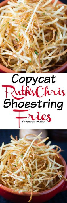 Copycat Ruth's Chris Shoestring Fries by Noshing With The Nolands are so easy to make with the right equipment.  They turn out so light and crispy!
