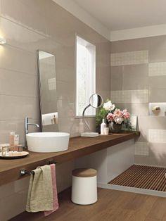 Handmade laattamalliston seinälaatat Buff (R3UY), Decoro Buff (R3VL). Lattialla Harmony Marrone (R2KK). www.varisilma.fi #kylpyhuone Bathroom Inspiration, Bathroom Ideas, Bathroom Toilets, Vanity, Shower, Handmade, Turquoise Bathroom, Toilet Decoration, Bathrooms