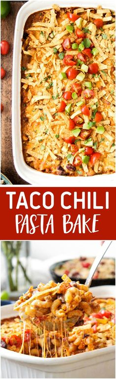 Taco Chili Pasta Bake - Loaded with so many delicious flavors and is sure to become a new family favorite!